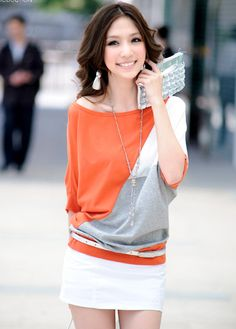Chic Batwing Sleeve Color Block T-Shirts #For Women.     ,Style: Casual     ,Collar: Boat Neck     ,Sleeve Length: Half Sleeve     ,Clothing Length: Regular     ,Material: Not Specified     ,Clothing Length (cm): 54cm. to get the best price please visit us