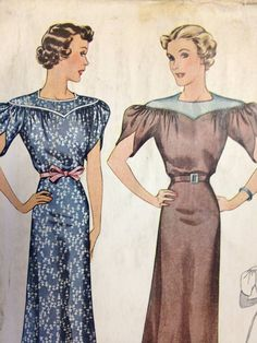 McCall Pattern  1930s Original  Vintage Dress with by dizzbrain, $32.00