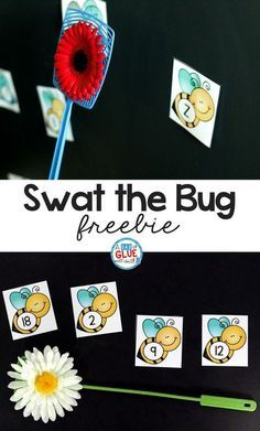 Swat the Bug Learning Activity is a great hands-on way to practice numbers and letters of the alphabet. This free printable is perfect for preschool and kindergarten students. Preschool Literacy, Free Preschool, Preschool Themes, Preschool Lessons, In Kindergarten, Preschool Crafts, Preschool Printables, April Preschool, Bug Crafts