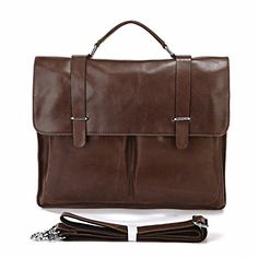 Tom Clovers Genuine Leather Mens Classical Briefcase Fashion Messenger Bag Top Handle Business Bag Shoulder Bag Handbag Coffee -- Continue to the product at the image link.