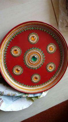 Wooden Pooja Thali Mansi Shah Art Pinterest Diwali