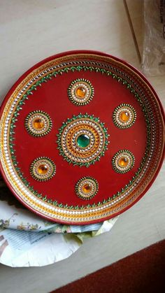 Arti Thali Decoration, Kalash Decoration, Diwali Diya, Diwali Craft, Diy Diwali Decorations, Flower Decorations, Diy Jewelry Tray, Coconut Decoration, Acrylic Rangoli