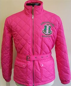 Alpha Kappa Alpha AKA Quilted Riding Jacket with Belt-Pink - Brothers and Sisters' Greek Store Aka Sorority, Sorority And Fraternity, Sorority Life, Sorority Fashion, Alpha Kappa Alpha Sorority, Greek Clothing, Kappa Clothing, Pink Quilts, Riding Jacket