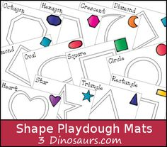 FREE Shape Playdough Mats (12 shapes) - great for motor skill development. #prek #education (repinned by Super Simple Songs)