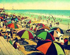beach umbrellas photograph  COLOR BEACH 11x14 photo decor 1930s art deco vintage red aqua yellow coastal beach lover gift Nostalgia via Etsy