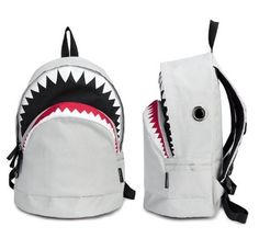 White Big Shark Backpack From Pomelo...I like this one even more than Hayden's current shark backpack.