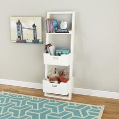 Nannie thinks her grandson would love this in his room!  Kids' Desk: Kids White Leaning Wall Bookcase in Bookcases | The Land of Nod