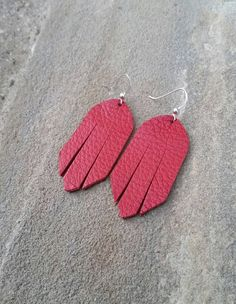 Red Leather Leather Earrings Red Earrings Leather Fringe