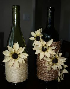Decorations...for the guest book table and card box gift table? Maybe with burlap flowers on them and then a single real flower in the bottle.