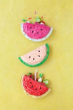 Make these DIY watermelon piñatas to stuff with some sweet goodies for your guests.