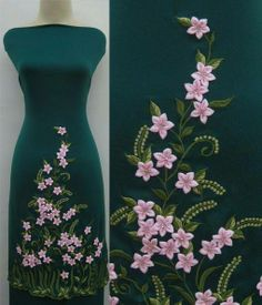 Ribbon Embroidery by Machine: Revolutionary New Techniques Using Any Sewing Machine - Embroidery Design Guide Embroidery On Kurtis, Kurti Embroidery Design, Hand Embroidery Designs, Embroidery Stitches, Embroidery Suits Punjabi, Hand Embroidery Flowers, Silk Ribbon Embroidery, Embroidery Dress, Satin Ribbon Flowers