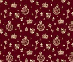 Antique Pocket-Watch, Crown and Keys Maroon   Cream fabric by teja_jamilla on Spoonflower - custom fabric