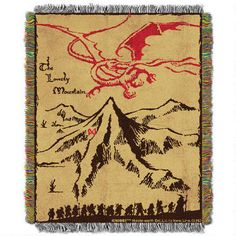 Use this beautiful The Hobbit: An Unexpected Journey Lonely Mountain woven tapestry throw blanket as a room accent, bed covering, throw blanket or wall-hanging. Crafted with amazing color and detail, this conversation piece is sure to delight.<br><br>Approximate Dimensions: 48 x 60<br>Material: 100% Polyester<br>Weight: 2 lbs