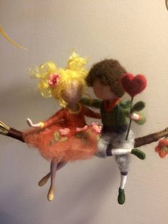 Needle felted dolls  Waldorf inspired Wool Two friends on a
