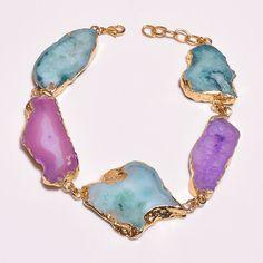 18 Cts.Vermeil Gold Plated Botswana Slice Agate  Handmade Bracelet Jewelry SR122…