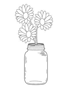 Mason Jar Coloring Page Elegant Mason Jar Daisy Bouquet Coloring Page Art Drawings Sketches, Easy Drawings, Embroidery Art, Embroidery Patterns, Colored Mason Jars, Mason Jar Flowers, Book Making, Doodle Art, Line Art