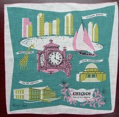 The Pink Rose Cottage - Vintage Tammis Keefe Chicago Handkerchief