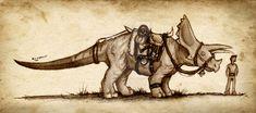 Dinosaurs living with humans. Dinosaurs Live, Cool Monsters, Fantasy Books, Jurassic Park, Prehistoric, Moose Art, Doodles, Extinct, Animals