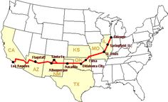 Route 66 turn-by-turn route description, select state or major city on the map