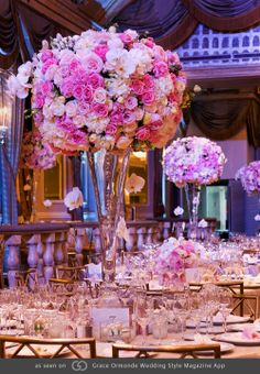 Modern version of Marie Antoinette with Swarovski crystal suspensions. Peonies, garden roses and phalaenopsis orchids. @grace_ormonde @wedding_style