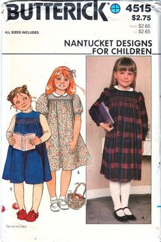Butterick 4515 Girls Dress and Jumper Pattern Nantucket Designs  toddlers and childs vintage sewing pattern smocking transfer by mbchills