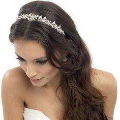 Cabello suelto para novia decorado con diadema Floral Headband Wedding 2ac6f90f9ff8