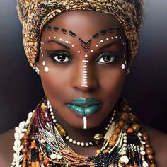 Most beautiful Nubian Queens on planet earth happen to be beautiful black women. A Nubian queen is an endearing name that is used in African American culture. It refers to the women as gods or goddesses and pays them the highest level of respect. African Tribal Makeup, African Beauty, African Art, African Women, African Style, African Tribal Jewelry, African Prints, African Fabric, African Face Paint