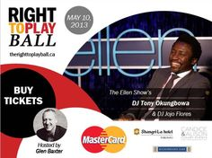 We can't wait to welcome Ellen DeGeneres' own DJ Tony to Toronto for the 2nd Annual Right To Play Ball! There's still time to get your tickets, check out www.therighttoplayball.ca for info & highlights from last year's event supporting Right To Play