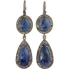 Bavna Sapphire & Diamond Pave Drop Earrings ($918) ❤ liked on Polyvore featuring jewelry, earrings, sapphire, sapphire jewellery, sapphire jewelry, drop earrings, pave diamond earrings and pave diamond drop earrings