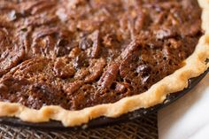 """This Chocolate Pecan Pie is like an upside-down """"turtle."""" Chocolate and caramel goodness with pecans on top. My favorite pie, EVER."""