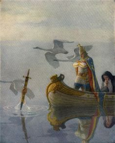 N.C. Wyeth - And when they came to the sword that the hand held, King Arthur took it up. 1922