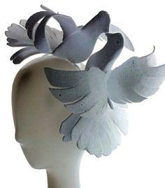 Bridal wedding headpiece by Ozmonda Heart doves kiss Fascinator, Headpiece, Wedding Hats, Kiss, Bridal, Heart, Plants, Headdress, Headdress