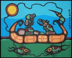 Norval Morrisseau painting of canoe riders Native American Artists, Canadian Artists, Kunst Der Aborigines, Native Canadian, Woodland Art, American Indian Art, Indigenous Art, Aboriginal Art, Native Art