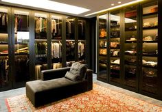Master Dressing Room - Glass doors & lit interiors allows you to view the contents. Great set up. Dressing Room Closet, Dressing Room Design, Dressing Rooms, Closet Vanity, Men Closet, Closet Clothing, Luxury Closet, Dream Closets, Home Deco