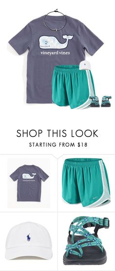 Yay Im a style spotter  by sweettoothegj ❤ liked on Polyvore featuring Vineyard Vines, NIKE and Chaco