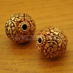 Nepalese Artisan Handmade Copper Gold Plated 2 beads from Nepal by Eksha Antic Jewellery, India Jewelry, Gold Jewellery Design, Gold Jewelry, Beaded Jewelry, Jewelery, Temple Jewellery, Diamond Jewelry, Beaded Necklace Patterns
