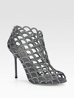 fe0335eba35a Sergio Rossi - Crystal-Coated Mermaid Ankle Boots