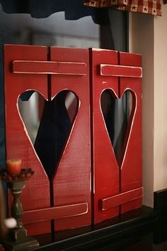 Red Shutters, Hearts~ perfect for my kitchen