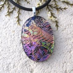 Pink Purple Gold Black Necklace Dichroic Glass by ccvalenzo