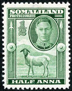 """Somaliland Protectorate (British Somaliland) 1942 Scott 96 ½a green """"Blackhead Sheep"""""""