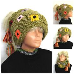 Women's Slouchy Beanie Hat Tube Scarf  Bohemian by GalinaHandmade