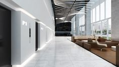 """The lobby reveals a 3 storey tall ceiling, surrounded by full height clear glass facade which further enhanced its spaciousness. The cores are cladded in monumental forms with seamless corian finishes, and by using a special router technique, integrating a back-lit effect on the corian revealing series of floral pattern inspired by Wuhan<span style=""""font-family: Tahoma;"""">'</span>s embroidery history. The lobby lounge is demarcated by 2 timber seating pods<span style=""""font-family…"""