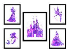 Purple Princess print Disney princess purple by FluidDiamondArt