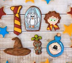 Harry Potter cookies! Some are ridiculously intricate (okay, most of them.) But maybe the tie (different colors for each house) and the witch's hat for the sorting hat?