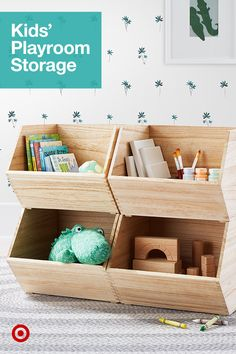 Organize your kids' playroom & activities with storage ideas that keep toys tidy & within reach for little hands. Toy Storage Bench, Storage Ideas, Living Room Toy Storage, Kids Playroom Storage, Playroom Ideas, Modern Toys, Small Space Storage, Toy Rooms, Kids Rooms