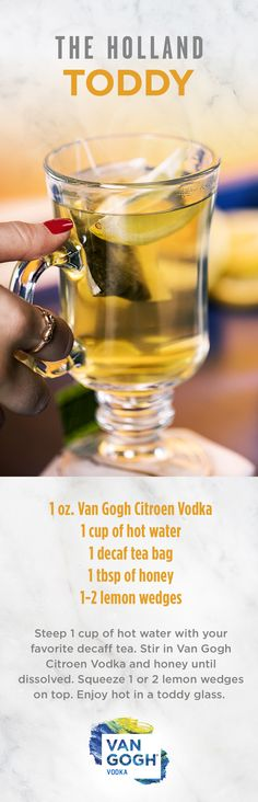 Unwind with the soothing Holland Toddy. Taking a Van Gogh Vodka spin on the Hot Toddy, this simple cocktail uses ingredients already in your home. For more winter cocktail recipes, click here!