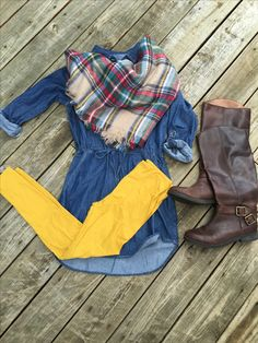 LuLaRoe mustard leggings paired with a chambray shirt dress, tall riding boots, and plaid scarf make for the cutest fall outfit ever! Flat Lays by LuLaRoe with Devin Leigh. #devinsleggings #lularoewithdevinleigh