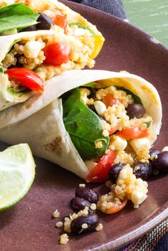 081314 Vegan summer wrap with quinoa, black beans, hummus, corn, and tomatoes by The Wimpy Vegetarian. #Secret Recipe Club