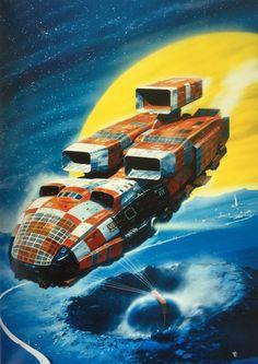 "martinlkennedy: "" Chris Foss - The Nathan Spaceship, Jigsaw Design, Nathan Paris, 1981 """