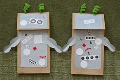 We incorporated one of our favorite themes into today's art activity: robots! We started with paper lunch bags covered with silver paper, pipe cleaners for antennae and some homemade stickers. Now it's time for a puppet show!